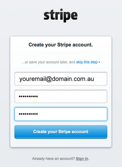 setup stripe create account